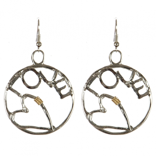 wholesale Metal cutout circle love dangling earrings RH