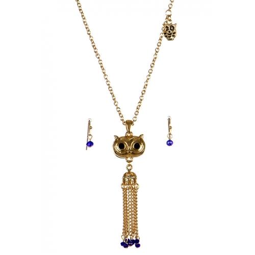 wholesale Metal owl tassel necklace set GD/BLU fashionunic