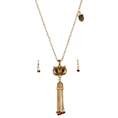 wholesale Metal owl tassel necklace set GD/RED fashionunic
