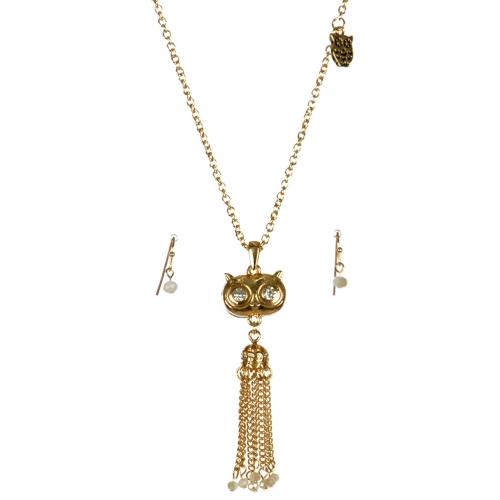 wholesale Metal owl tassel necklace set GD/IVY fashionunic