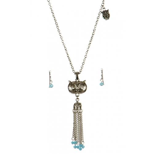 wholesale Metal owl tassel necklace set RH/TQS fashionunic