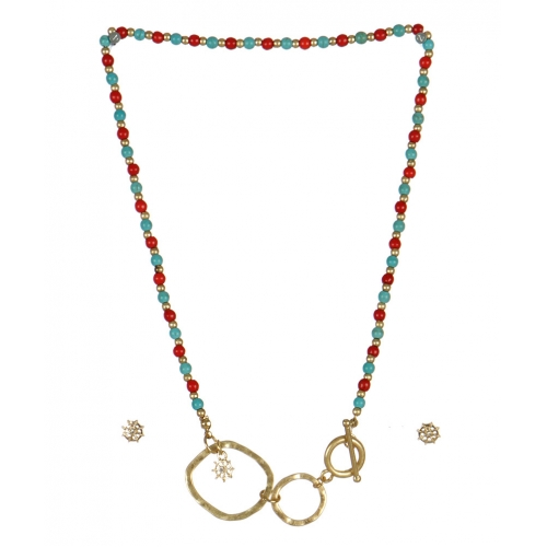 wholesale Studs on loops necklace set MLT fashionunic