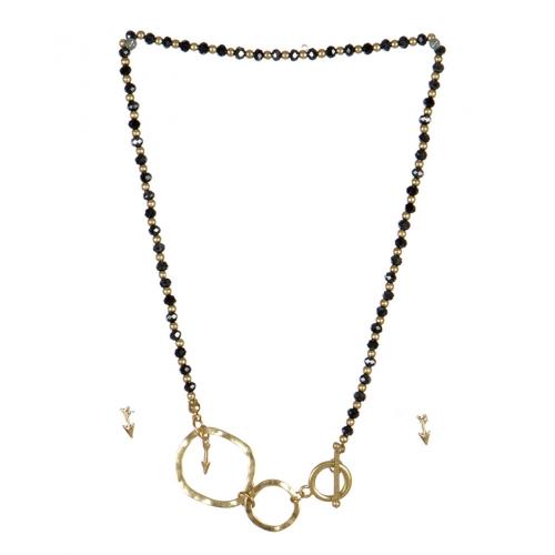 wholesale Arrow studs on loops necklace set WG/HMT fashionunic