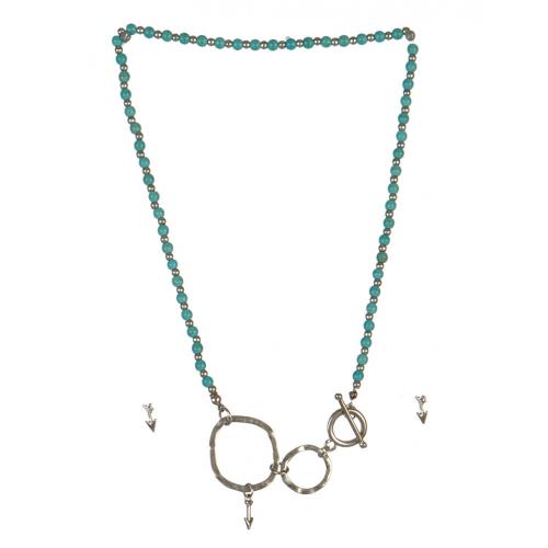 wholesale Arrow studs on loops necklace set WRH/TQS fashionunic