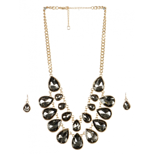wholesale Stone drop necklace set GDBD fashionunic