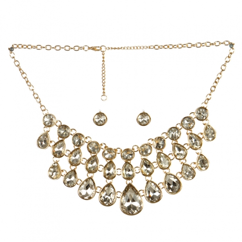 wholesale Layered stone drop necklace set GDCR fashionunic