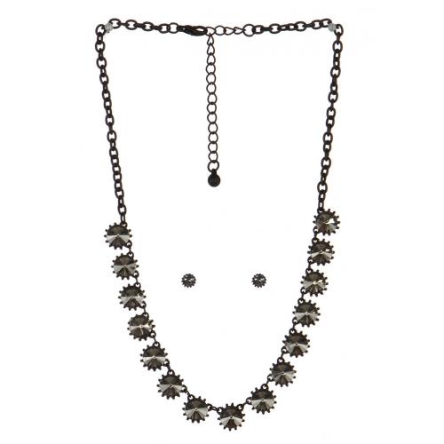 wholesale Spiked stone necklace set BKBD fashionunic