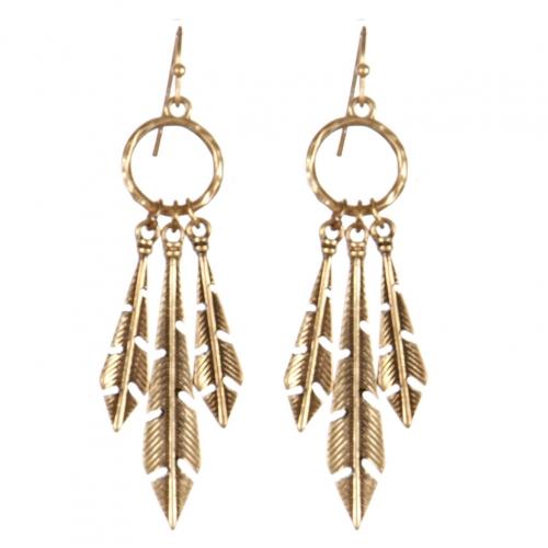 Wholesale L22D Three feathers metal earrings RGB