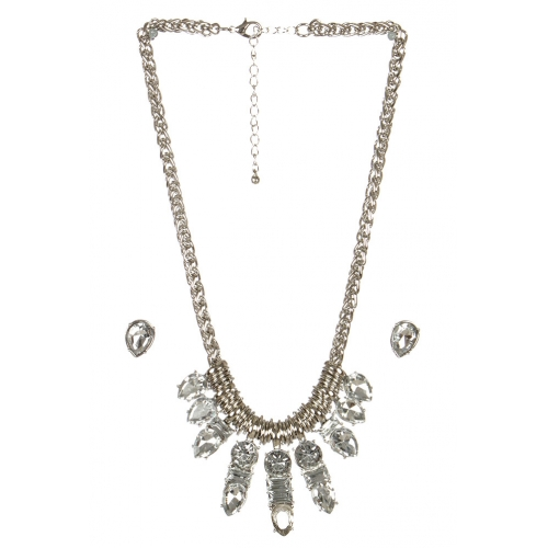wholesale Clustered stone necklace set RHCL fashionunic