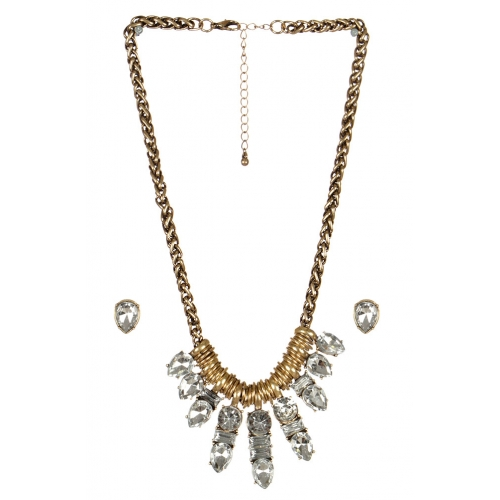 wholesale Clustered stone necklace set GDCL fashionunic
