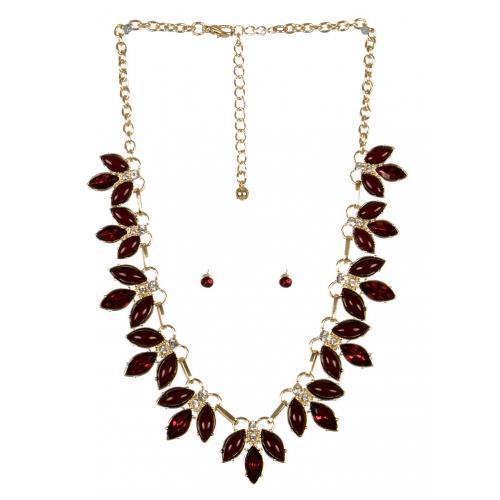 wholesale Pointed stone necklace set GDBUG fashionunic