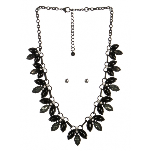 wholesale Pointed stone necklace set BKBD fashionunic