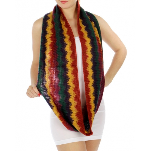 wholesale Multicolored zigzag striped infinity scarf Green/Orange