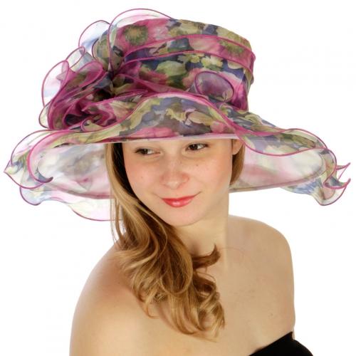 wholesale Floral print organza hat PU fashionunic