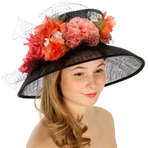 wholesale Flowers and net sinamay hat BLACK fashionunic