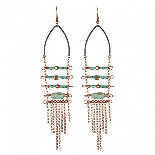 Wholesale L31C Beads and chain tassel earrings OG