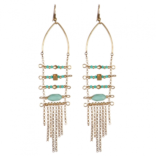 Wholesale L31C Beads and chain tassel earrings RGB