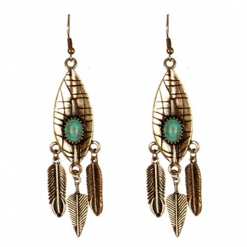 Wholesale L31C Leaf tassel earrings RGB