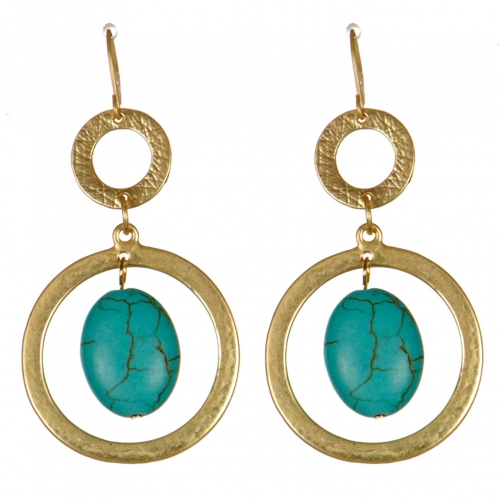 Wholesale M08D Metal circle drop earrings G