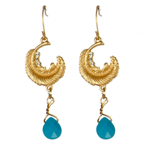 Wholesale M08D Crescent leaf drop earrings G