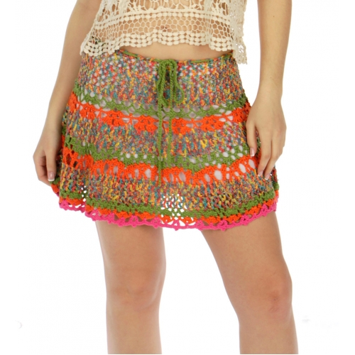 Wholesale H09 Multi color crochet skirt Orange
