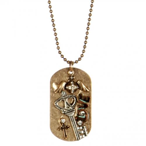 Wholesale L26B Metal key pendant necklace RGB/MT