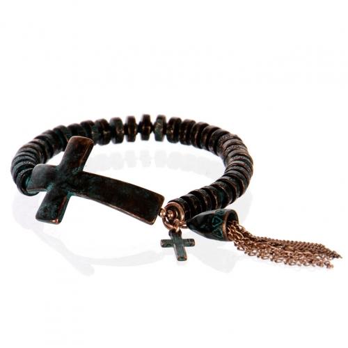 Wholesale L26A Metal cross with tassel bracelet OG