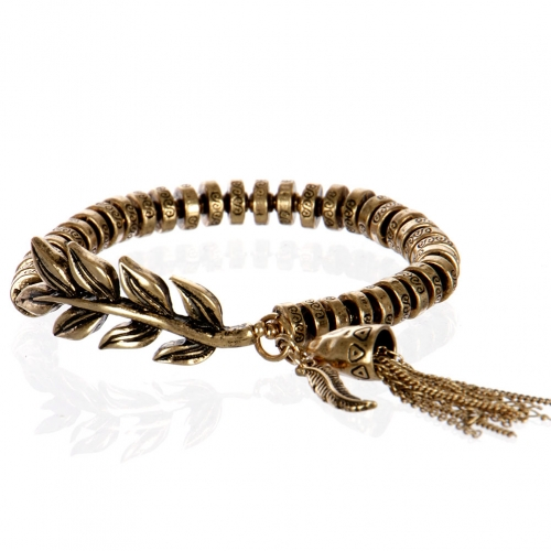 Wholesale L26B Metal feather with tassel bracelet RGB