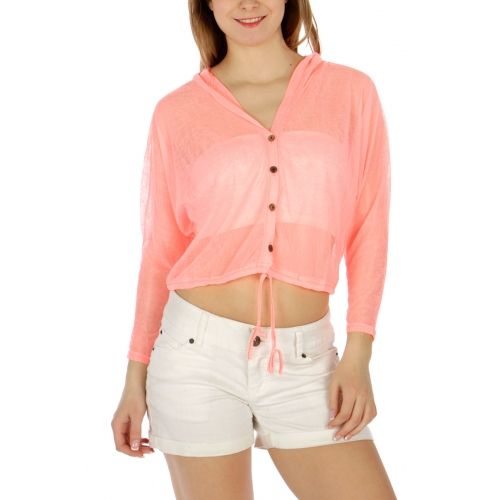 Wholesale M32 Cotton blend cropped sheer top H.Pink