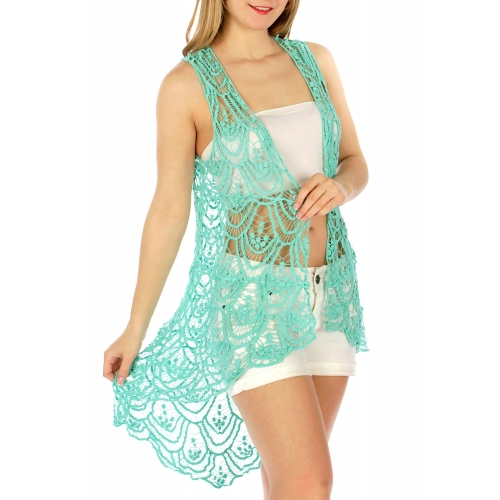 Wholesale H01 Cotton crochet feel drape vest Teal