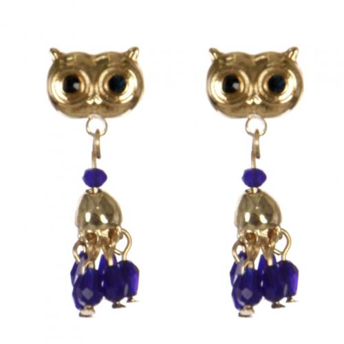 Wholesale L30C Owl earrings GD/BLU