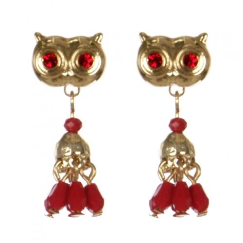 Wholesale L30C Owl earrings GD/RED