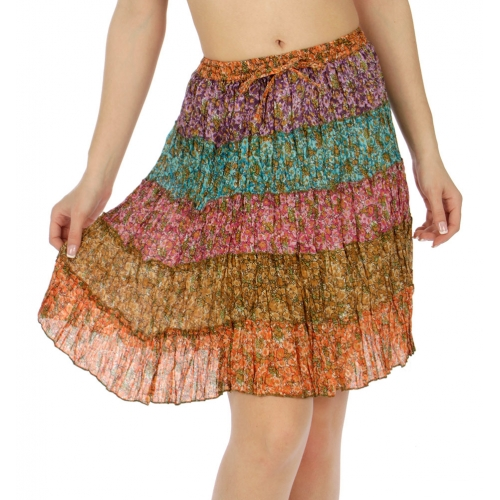 Wholesale K56 Floral tiered cotton skirt Turquoise/Orange