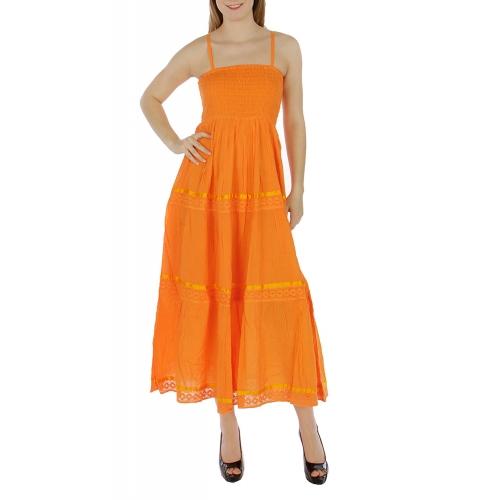Wholesale K56 Tiered cotton solid dress Orange