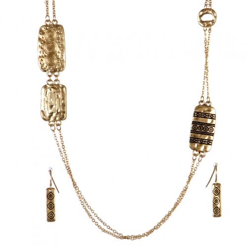 Wholesale L01D Double chain long necklace set WG