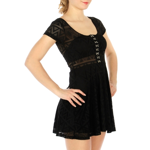 Wholesale F30 Round neck mesh dress Black