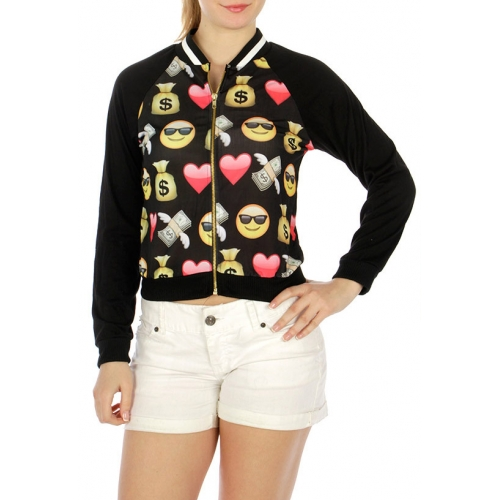 Wholesale G07 Neckline contrast trim jacket Emoji