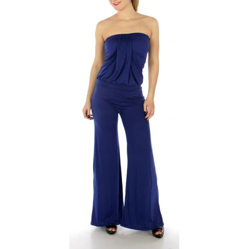 Wholesale H15 Strapless solid jumpsuit Black