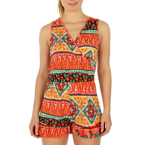 Wholesale G07 Abstract print romper Royal/Yellow