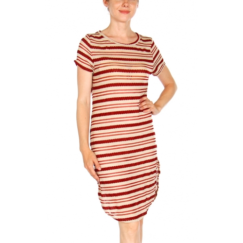 Wholesale G06 Curved hem striped dress Black/Beige