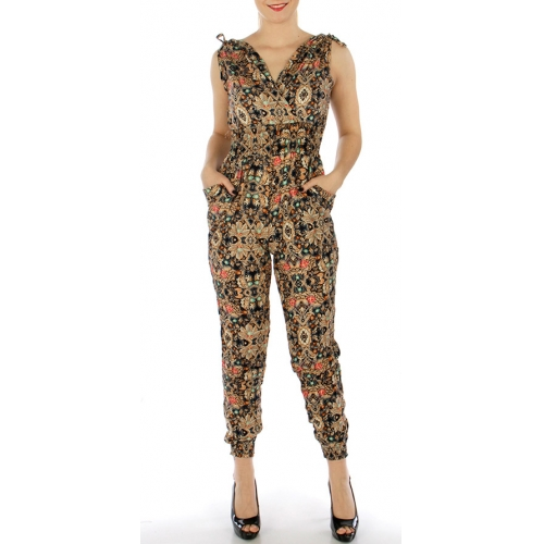 Wholesale G46 V back abstract jumpsuit Camel