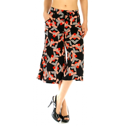 Wholesale A04 Culottes abstract Black and Red