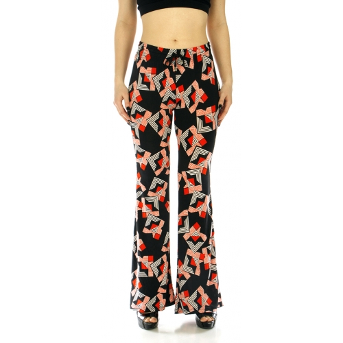 Wholesale A04 Bell bottom pants abstract Black and Red