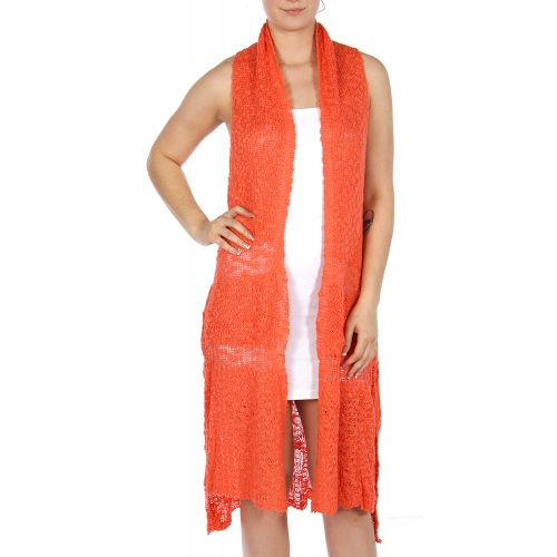Wholesale O04D knit long vest Black