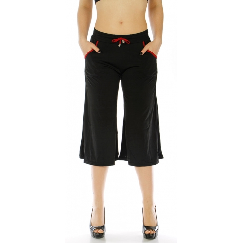 Wholesale A05 Black summer culottes with red trim