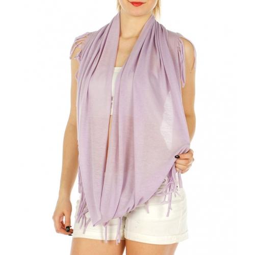 Wholesale P00B Fringe trim infinity scarf BK