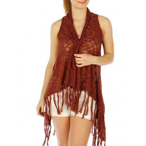 Wholesale O04D Open knit long fringe vest Black