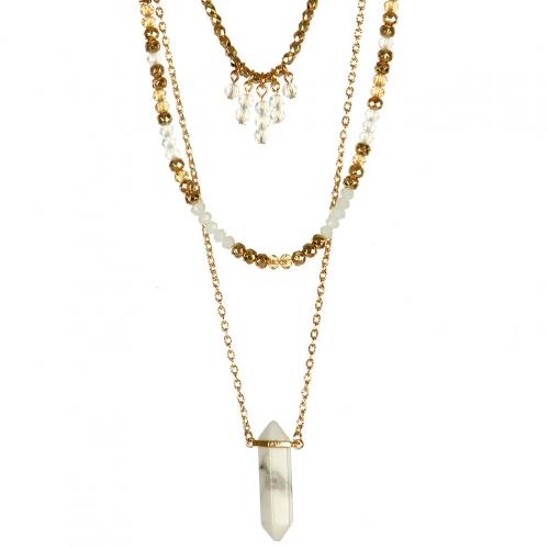 Wholesale L22E Triple strand beaded necklace GC
