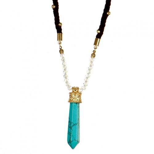 Wholesale L22E Faux suede strand stone necklace GBTQ