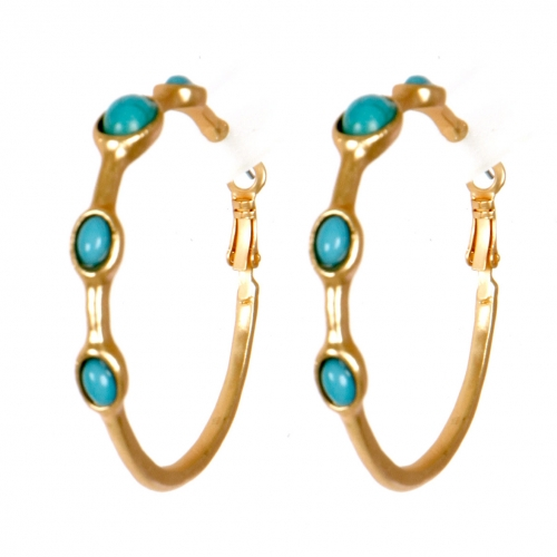 Wholesale M02E Stone accent hoop earrings G